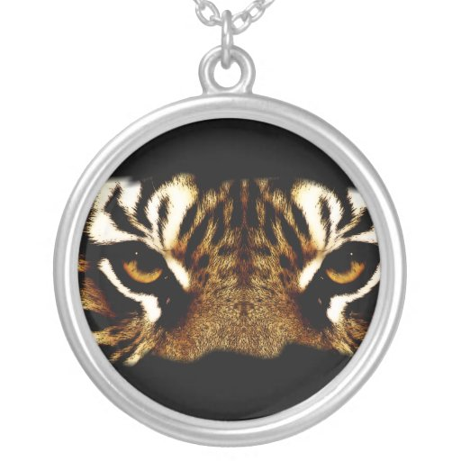 Eyes of a Tiger Round Pendant Necklace