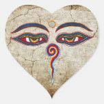 Eyes Of Buddha / Augen der Weisheit Heart Sticker
