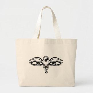 Eyes of Buddha, Yin Yang, Wisdom & Enlightenment Large Tote Bag