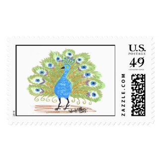 Eyes of India Peacock by Wendy C. Allen Postage Stamps