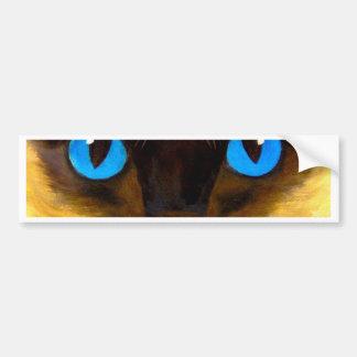 Eyes Of Siamese Cat Feline Art Painting Bumper Sticker