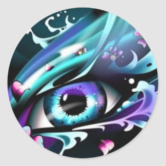 Eyes OF The Deep Blue Ocean Round Stickers