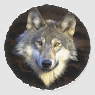 Eyes of the Mystic Gray Wolf Classic Round Sticker