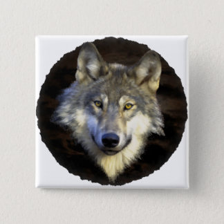 Eyes of the Mystic Gray Wolf Pinback Button
