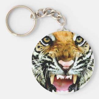 Eyes of Tiger Basic Round Button Keychain