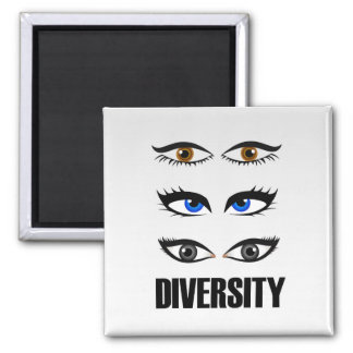 Eyes of women showing diversity 2 inch square magnet