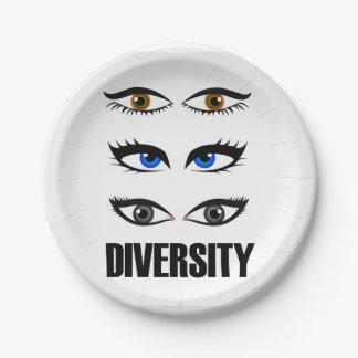Eyes of women showing diversity paper plate