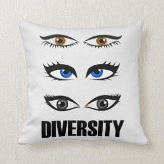 Eyes of women showing diversity throw pillow