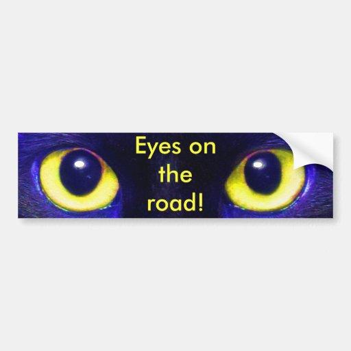 Eyes on the Road Kitty Car Bumper Sticker