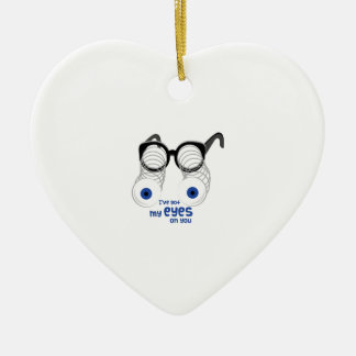 Eyes On You Double-Sided Heart Ceramic Christmas Ornament