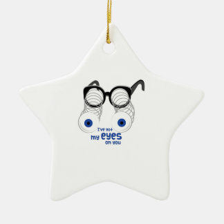 Eyes On You Double-Sided Star Ceramic Christmas Ornament