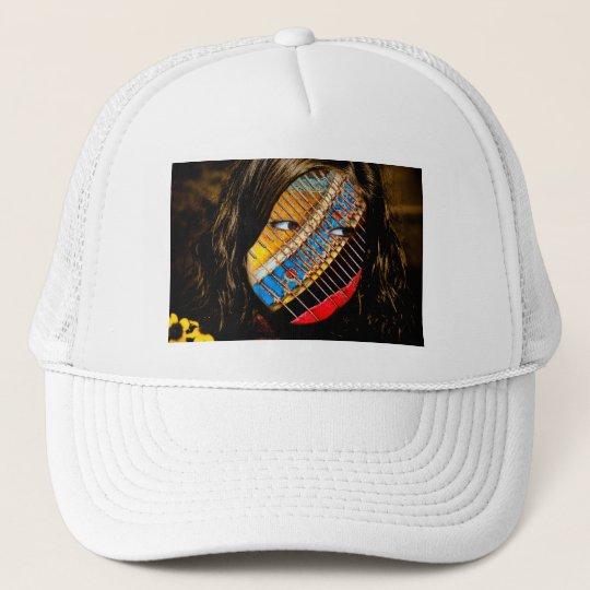 eyes open with flowers trucker hat