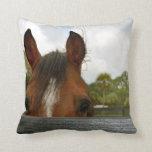 eyes over fence horse head throw pillows