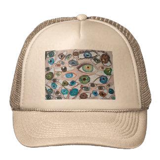eyes painting original art trucker hat