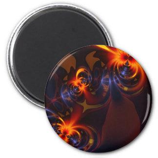 Eyes & Swirls – Amber & Indigo Delight 2 Inch Round Magnet