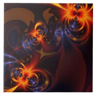 Eyes & Swirls – Amber & Indigo Delight Ceramic Tile