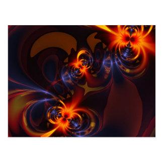 Eyes & Swirls – Amber & Indigo Delight Postcard