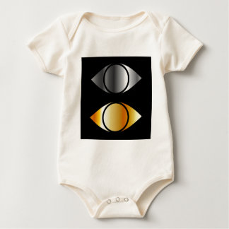 eyes symbols in gold and silver baby bodysuit