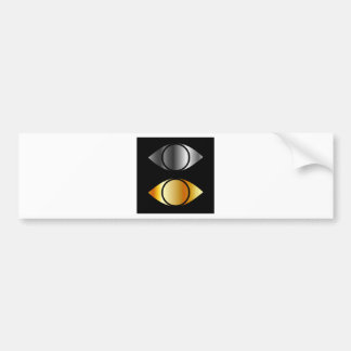 eyes symbols in gold and silver bumper sticker