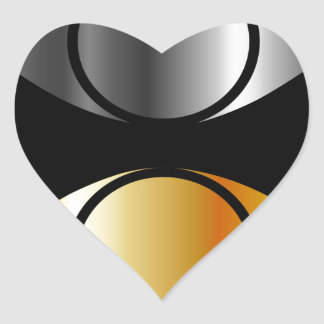 eyes symbols in gold and silver heart sticker