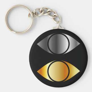 eyes symbols in gold and silver keychain