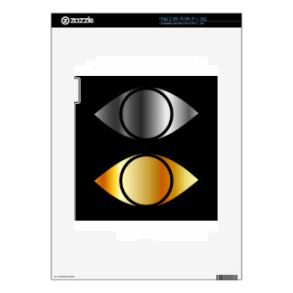 eyes symbols in gold and silver skin for iPad 2