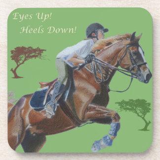 Eyes Up! Heels Down! Horse Cork Coaster