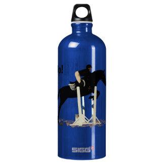 Eyes Up! Heels Down! Horse Jumper Aluminum Water Bottle