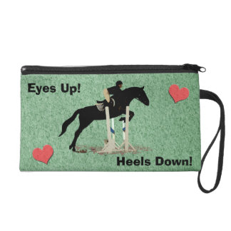 Eyes Up! Heels Down! Horse Jumper Wristlet Clutches
