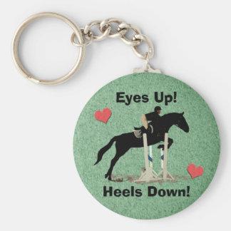 Eyes Up! Heels Down! Horse Jumper Basic Round Button Keychain