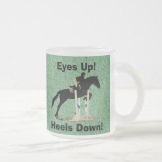 Eyes Up! Heels Down! Horse Jumper Frosted Glass Coffee Mug