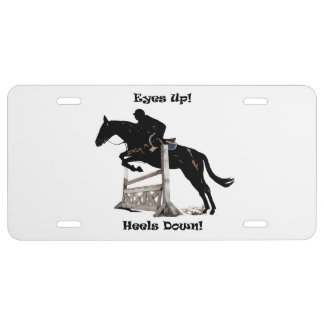 Eyes Up! Heels Down! Horse Jumper License Plate