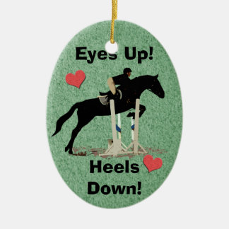 Eyes Up! Heels Down! Horse Jumper Christmas Tree Ornament