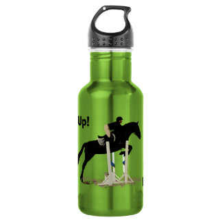 Eyes Up! Heels Down! Horse Jumper 18oz Water Bottle