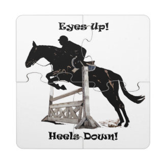 Eyes Up! Heels Down! Horse Jumper Puzzle Coaster