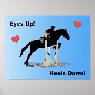 Eyes Up! Heels Down! Horse Jumper Poster