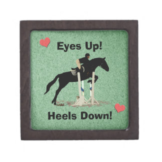 Eyes Up Heels Down Horse Jumper Premium Jewelry Boxes