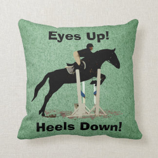 Eyes Up! Heels Down! Horse Jumper Throw Pillow