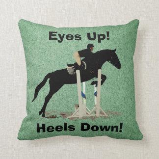 Eyes Up! Heels Down! Horse Jumper Throw Pillow