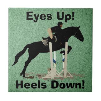 Eyes Up! Heels Down! Horse Jumper Tile