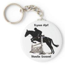 Eyes Up! Heels Down! Horse Keychain