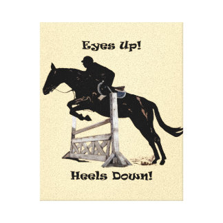 Eyes Up! Heels Down Horse & Rider Wrapped Canvas Canvas Print