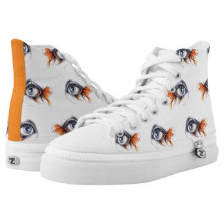 Eyes with fish tail pattern Surreal pencil art High-Top Sneakers