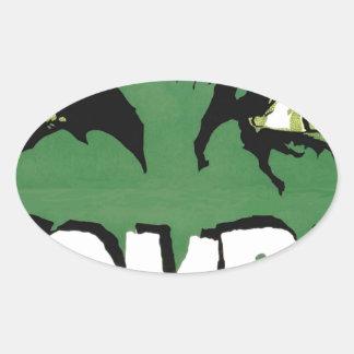 EYES ZOMBIE Zᴏᴍʙɪ Zᴜᴍʙɪ  Spirit  Halloween Oval Sticker