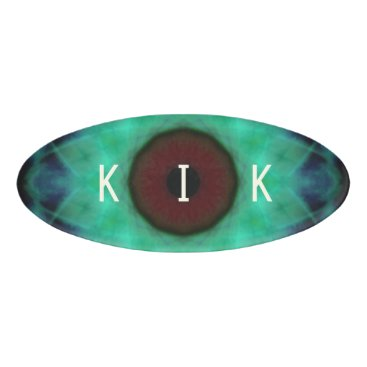Halloween Themed Eyesore Evil Eye Teal Mandala Name Tag