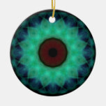 Eyesore Teal Evil Eye Double-Sided Ceramic Round Christmas Ornament