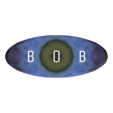Halloween Themed Eyesore Violet Blue Evil Eye Mandala Name Tag