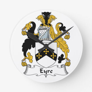 Eyre Family Crest Round Clock