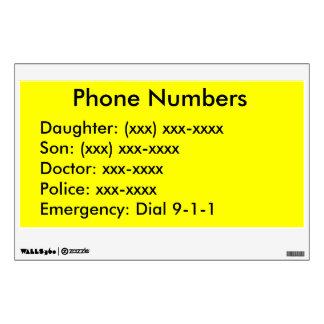 EZ-C Bright Yellow Phone List Wall Decal