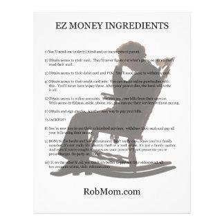 EZ Money Ingredients Flier Flyer